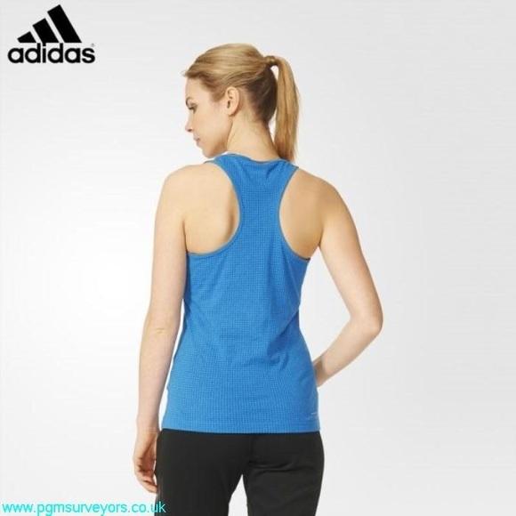 adidas AeroKnit Cool Womens Running Vest Tank Top Blue
